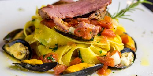 Pappardelle pasta tuna and sea food