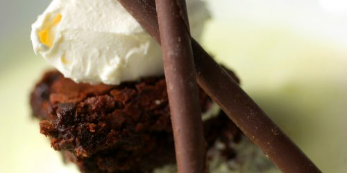 chocolate brownie dessert with ice cream