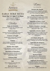 early bird menu new antico restaurant jesmond