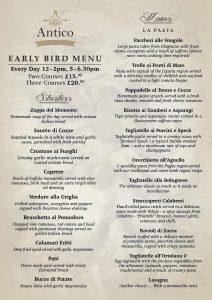 early bird menu new antico restaurant jesmond