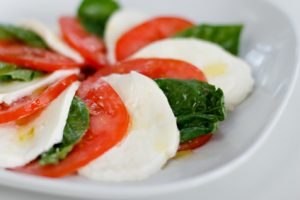 Italian Salad with Basil, Tomatoes, and Mozzarella Cheese